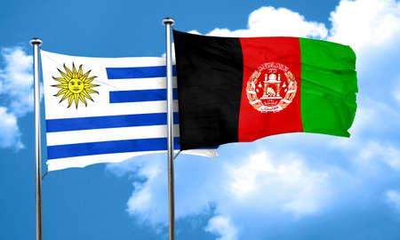 Uruguay flag with afghanistan flag, 3D rendering
