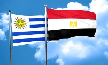 bandera de egipto: bandera de Uruguay con la bandera de Egipto, 3D Foto de archivo