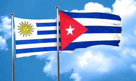 bandera de uruguay: bandera de Uruguay con la bandera de Cuba, 3D