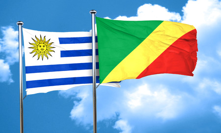 congo: Uruguay flag with congo flag, 3D rendering