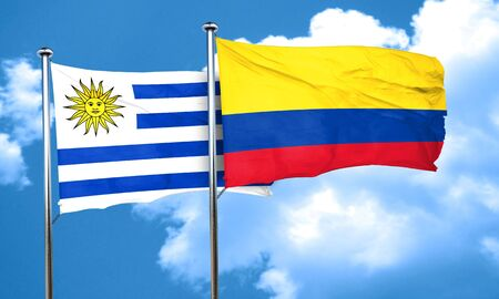 colombia flag: Uruguay flag with Colombia flag, 3D rendering