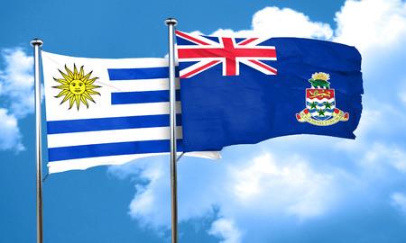 bandera de uruguay: bandera de Uruguay con la bandera de las islas Cayman, 3D Foto de archivo