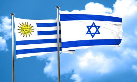 uruguay: Uruguay flag with Israel flag, 3D rendering