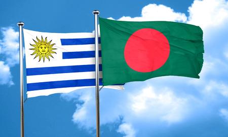 bandera de uruguay: bandera de Uruguay con la bandera de Bangladesh, 3D