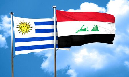 iraq flag: Uruguay flag with Iraq flag, 3D rendering Stock Photo