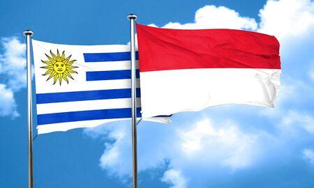 bandera de uruguay: bandera de Uruguay con la bandera de Indonesia, 3D Foto de archivo