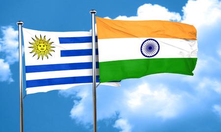 bandera de uruguay: bandera de Uruguay con la bandera de la India, 3D Foto de archivo