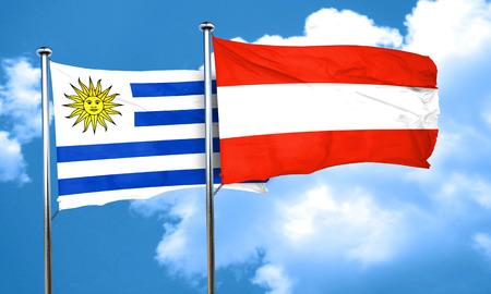 bandera de uruguay: bandera de Uruguay con la bandera de Austria, 3D
