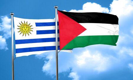 bandera de uruguay: bandera de Uruguay con la bandera de Palestina, 3D