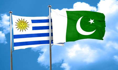 bandera de uruguay: bandera de Uruguay con la bandera de Pakistán, 3D