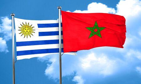 bandera uruguay: bandera de Uruguay con la bandera de Marruecos, 3D Foto de archivo