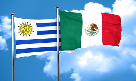 bandera de uruguay: bandera de Uruguay con la bandera de M�xico, 3D