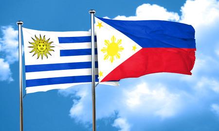 bandera de uruguay: bandera de Uruguay con la bandera de Filipinas, 3D