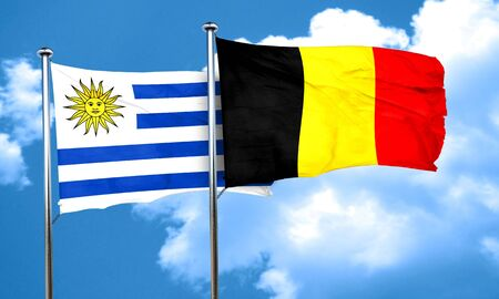 uruguay: Uruguay flag with Belgium flag, 3D rendering Stock Photo