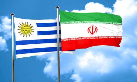 bandera de uruguay: bandera de Uruguay con la bandera de Ir�n, 3D