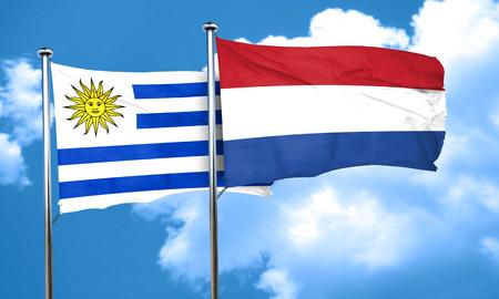 bandera uruguay: bandera de Uruguay con la bandera de Países Bajos, 3D Foto de archivo