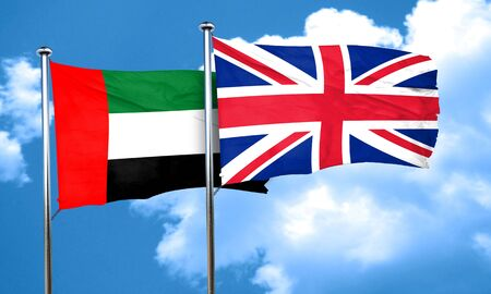 great britain flag: uae flag with Great Britain flag, 3D rendering