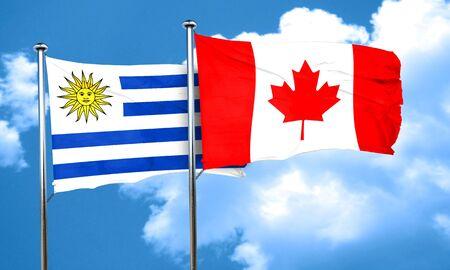 bandera de uruguay: bandera de Uruguay con la bandera de Canadá, 3D