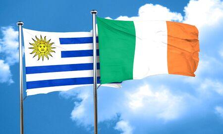 bandera uruguay: bandera de Uruguay con la bandera de Irlanda, 3D