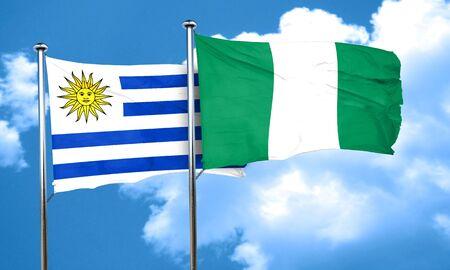 bandera uruguay: bandera de Uruguay con la bandera de Nigeria, 3D