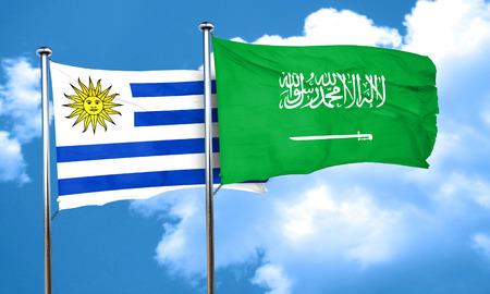 bandera de uruguay: bandera de Uruguay con la bandera de Arabia Saudita, 3D