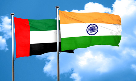 india 3d: uae flag with India flag, 3D rendering