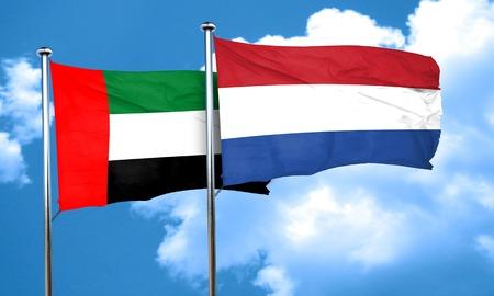 netherlands flag: uae flag with Netherlands flag, 3D rendering Stock Photo