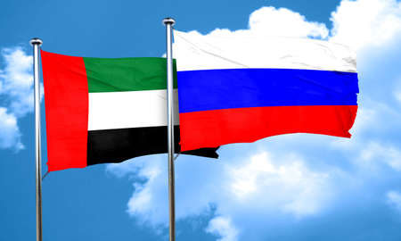 russia flag: uae flag with Russia flag, 3D rendering Stock Photo