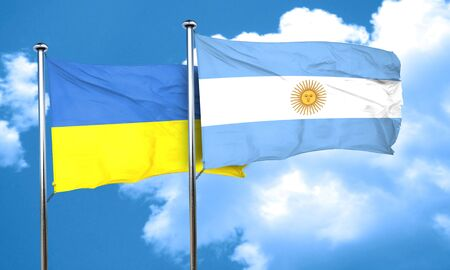 argentine: Ukraine flag with Argentine flag, 3D rendering Stock Photo