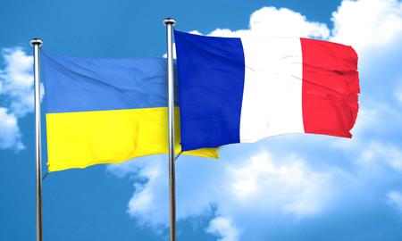 ukraine flag: Ukraine flag with France flag, 3D rendering