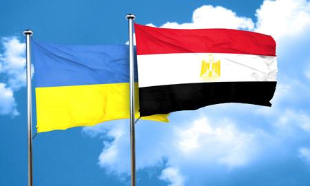 egypt flag: Ukraine flag with egypt flag, 3D rendering