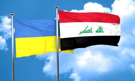 iraq flag: Ukraine flag with Iraq flag, 3D rendering