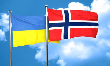 ukraine flag: Ukraine flag with Norway flag, 3D rendering Stock Photo