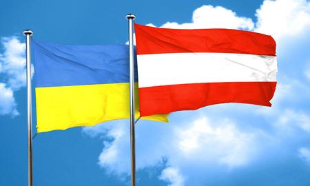 austria flag: Ukraine flag with Austria flag, 3D rendering
