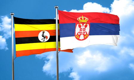 serbia flag: Uganda flag with Serbia flag, 3D rendering