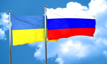 russia flag: Ukraine flag with Russia flag, 3D rendering