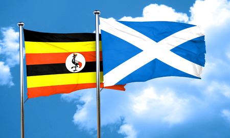 ugandan: Uganda flag with Scotland flag, 3D rendering