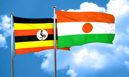 ugandan: Uganda flag with Niger flag, 3D rendering
