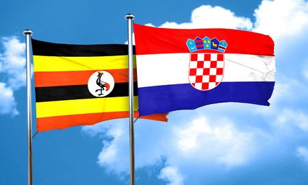 bandera de croacia: bandera de Uganda con la bandera de Croacia, 3D