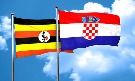 ugandan: Uganda flag with Croatia flag, 3D rendering