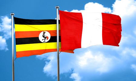 bandera de peru: bandera de Uganda con la bandera de Perú, 3D Foto de archivo