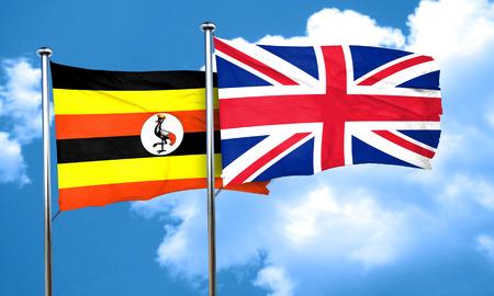 bandera de gran breta�a: bandera de Uganda con la bandera de Gran Breta�a, 3D Foto de archivo