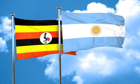 argentine: Uganda flag with Argentine flag, 3D rendering