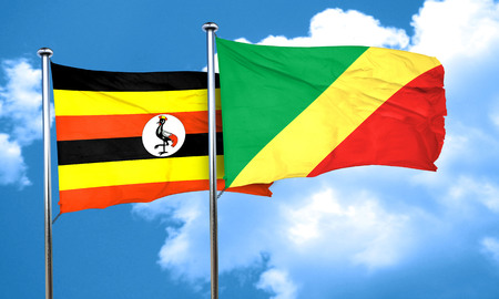 congo: Uganda flag with congo flag, 3D rendering Stock Photo
