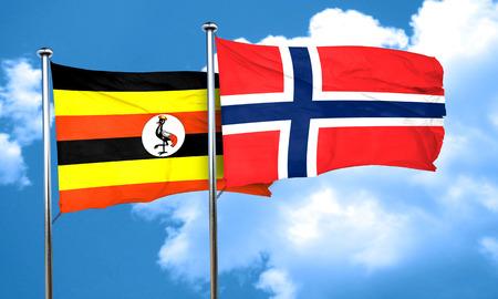 norway flag: Uganda flag with Norway flag, 3D rendering