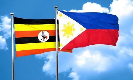 philippino: Uganda flag with Philippines flag, 3D rendering Stock Photo