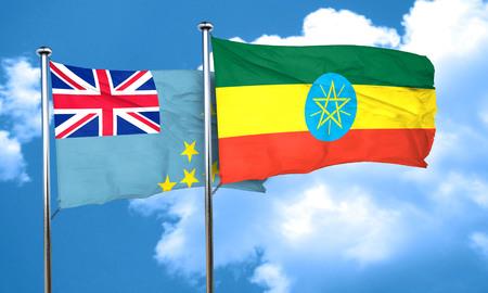 ethiopia flag: Tuvalu flag with Ethiopia flag, 3D rendering Stock Photo