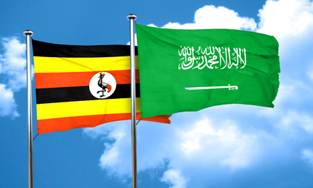 ugandan: Uganda flag with Saudi Arabia flag, 3D rendering