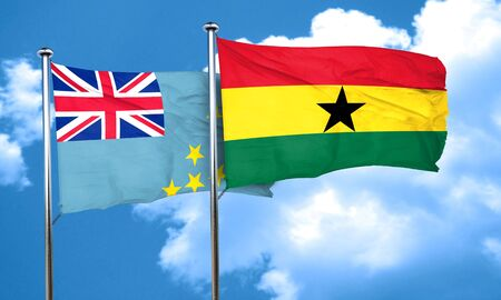 ghanese: Tuvalu flag with Ghana flag, 3D rendering