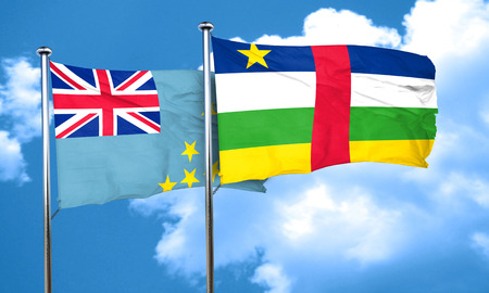 tuvalu: Tuvalu flag with Central African Republic flag, 3D rendering
